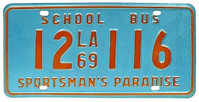Vintage Unused NOS Louisiana 1969 SCHOOL BUS License Plate, Colorful, Red Blue