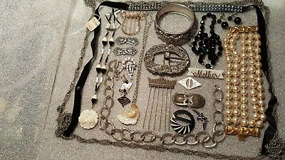 Lot of Vintage Antique Jewelry Pin Earrings Necklaces Buckles Black White