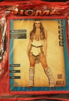 Roma Indian Mistress Sexy Costume sz Small Tan and Brown 4pc