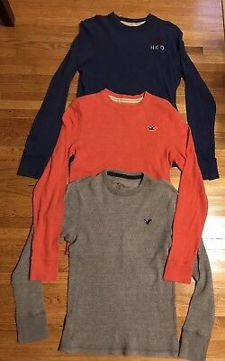 Lot Of Hollister American Eagle Thermal Shirts Mens M Orange Blue Gray
