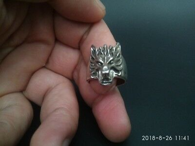 EXQUISITE CHINESE OLD TIBET SILVER CARING CARVED Wolves MAGIC RING RT012