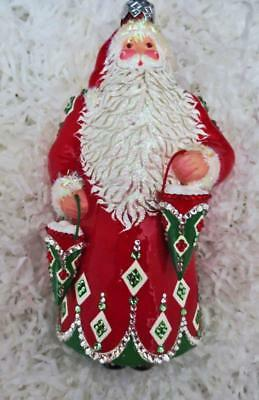 Patricia Breen ANNIVERSARY CLAUS - RED, GREEN, SILVER Ornament Breen 20 Years