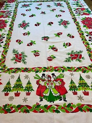 Vintage MCM Christmas Tablecloth With Carolers & Gold Stamped Snowflakes,48 X 66