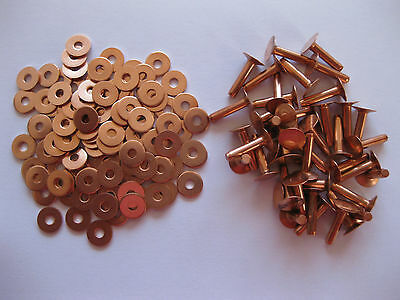 Copper hose saddlers rivets 10 Gauge x 1/2 with washers leather belt bag crafts