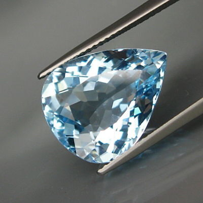 11.50Ct.Ravishing Color! BIG Swiss Blue Topaz Brazil Full Sparkling&Eye Clean!