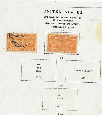 Stamps Us Scott E13 15C Special Delivery Used Album Page