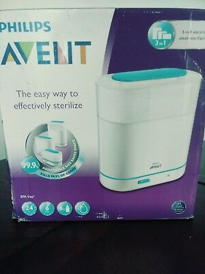 Philips AVENT 3-in-1 Electric Steam Sterilizer Space Saver Baby Bottle Sterilize