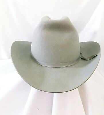09666a493aba31 Stetson Pasley Mist Grey Felt Cowboy hat Size 58 Long Oval 7 1/4 With