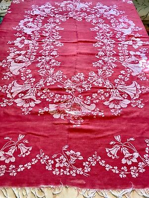 """Antique Country French Turkey Red Linen Damask Fringed Tablecloth, 54"""" X 72"""""""