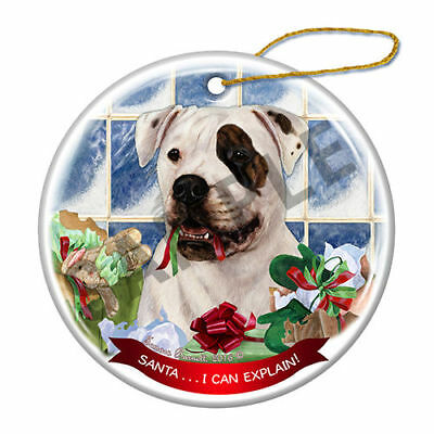 American Bulldog Brindle Eye Howliday Porcelain China Dog Christmas Ornament H2