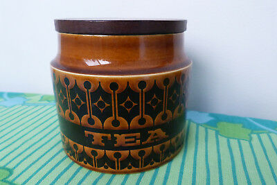 "Hornsea ""Heirloom"" Brown Pottery TEA Canister - VGC Made in England"