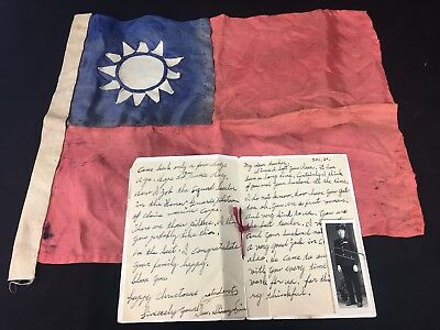 WW2 CHINESE Army Officer's Letter to his US Teacher (Photo and ROC Flag )