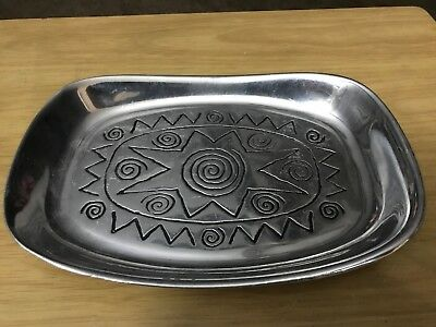 The Wilton Co. RWP Pewter Serving Dish Bread Tray With Star And Curley Cues