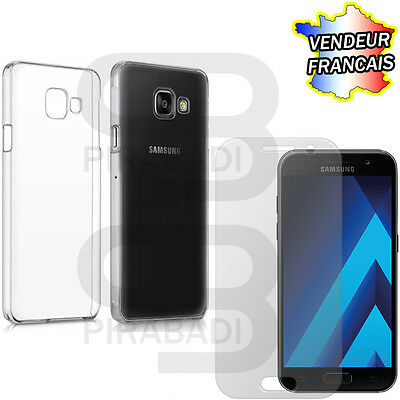 Hull Cover Silicon Case + Protection Tempered Glass Samsung Galaxy A3 2017