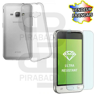 Hull Cover Silicon Case + Protection Tempered Glass Samsung Galaxy J1 2016