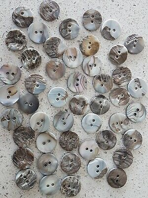 Lot of 20x New 2-Hole 15mm Round Akoya Mother of Pearl Vintage sewing buttons