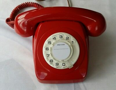 (Immaculate) 1981 AWA LAQUER RED VINTAGE  ANTIQUE RETRO ROTARY DIAL TELEPHONE