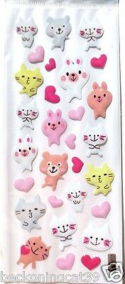 F/S Animal Cat Vinyl Sticker Kitten Kitty Bear Rabbit Heart Scrapbook Kids JAPAN