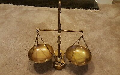 Antique/Vintage Brass Scale With 6 Weights scales of justice, very cool!