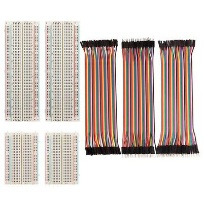 4 Pieces Breadboards Kit with 120 Pieces Jumper Wires for Arduino Proto Shi W3K2