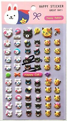 Lovely Cute Animal Cat 3D Vinyl Sticker Calico Kitty Kitten Scrapbook Kids JAPAN