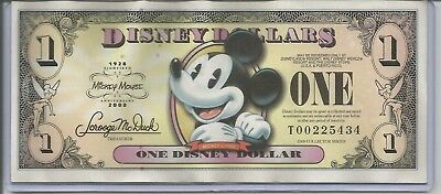 One (1) $1 Mickey Mouse 2008 80th Anniversary Series Disney Dollars T00225434