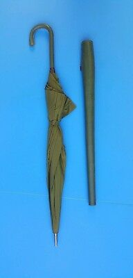 """VINTAGE 27"""" GREEN UMBRELLA w/ LEATHER COVER METAL FRAME FAUX SKIN LOOK"""