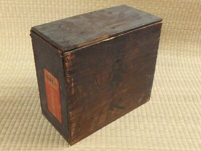 1900s / Japanese antique wooden box / Soup bowl cup storage / With lid / l20