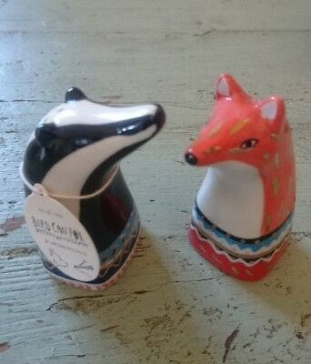 Anthropologie Woodland Animals Salt Pepper Shakers BNIB