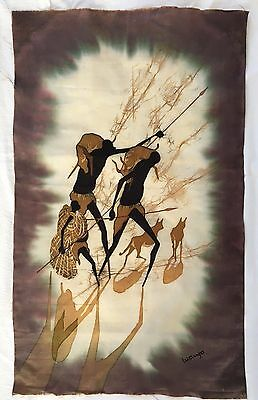 African Batik Wall Hanging - Warriors Home from the Hunt