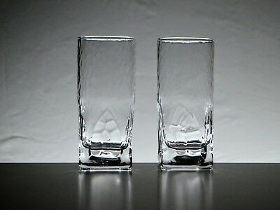 2x Square Based Highball Tumblers w/- Hammered Finish + Church Window Motif