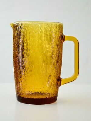 Vintage / Retro 80s / 70s Amber Glass,Textured Water / Juice Pitcher / Jug