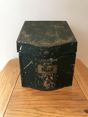 Vintage Edwardian Metallic 'Bills' Storage Box - Painted With Embossed Pattern