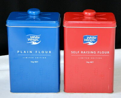 WHITE WINGS Plain + Self-raising Flour Limited Edition Canisters Tins GLEN IRIS