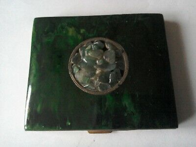 1940s Schildkraut Bakelite and Jade Powder Compact.