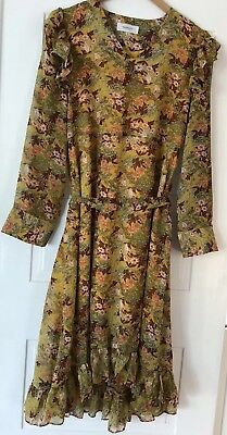 Naning9 Gorgeous Yellow Floral Vintage Look Dress. Korean Design. Size Small