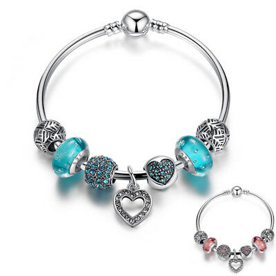 European Crystal Love Heart Charm Bracelet Diamante Beads Silver plated Bangle