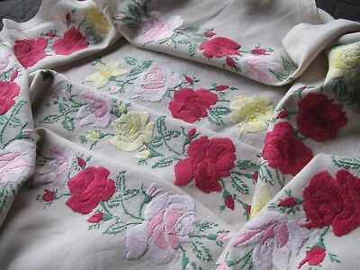 Stunning!Vintage Hand Embroidered Tablecloth-BEAUTIFUL ROSES