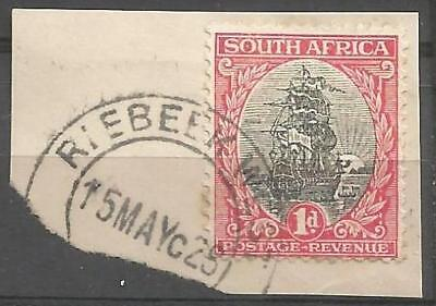 Union of South Africa Postmark Riebeek West 15.05.1928 on small piece