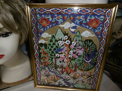Vintage completed needlepoint tapestry picture Persian theme very good condition