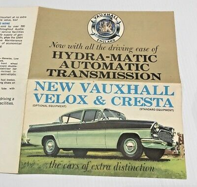 Vintage VAUXHALL VELOX & CRESTA PA PAX Hydramatic Dealer Brochure 1961/62 GMH