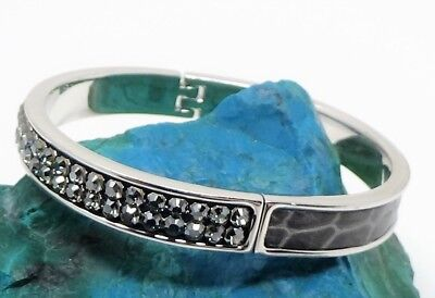 RARE Swarovski Crystal Signed Hinged Silver & Gray Bangle Bracelet ~ Very Nice!