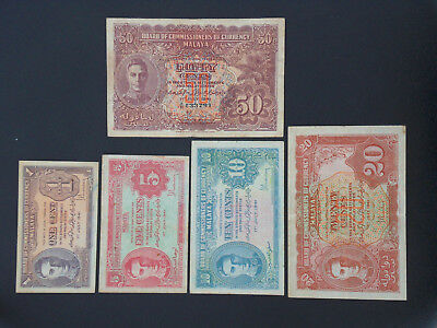 Set Of 1941 Malaya 1 Cent, 5 Cents, 10 Cents, 20 Cents and 50 Cents Banknotes