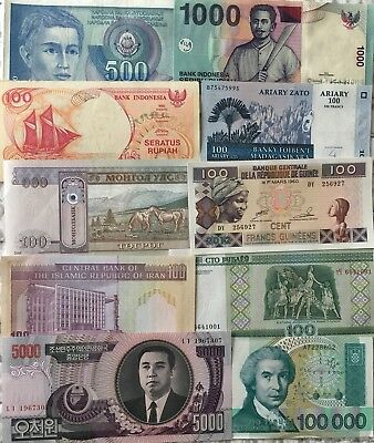 10 Pcs Different Countries Banknotes World Paper Money Set/Lot - UNC From Bundle