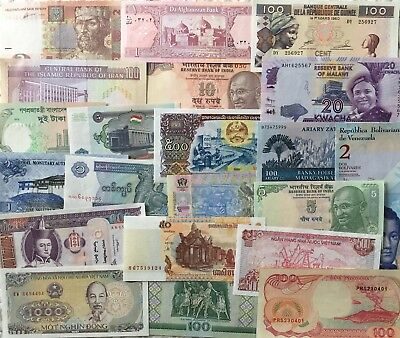 20 Pcs Different Countries Banknotes World Paper Money Set/Lot - UNC From Bundle
