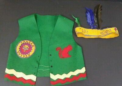 YMCA 1970s Indian Guides Father & Son Felt Vest with Feather Head Band Vintage