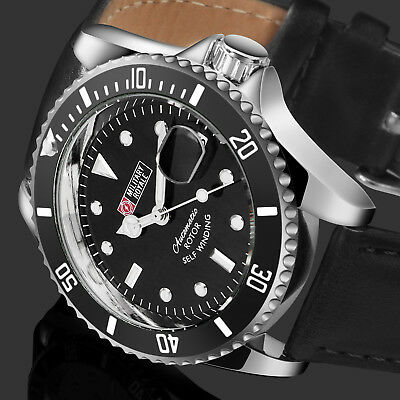 Military Royale Mens Watch Automatic Silver Case Black Leather Strap Date Army