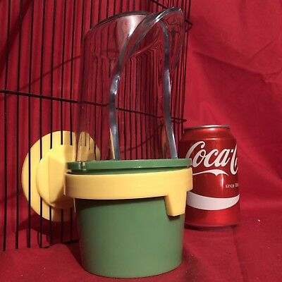 Bird Feeder XL Food Water Budgie Canary  Cockatiel Lovebird Parakeet GREEN 7.5""