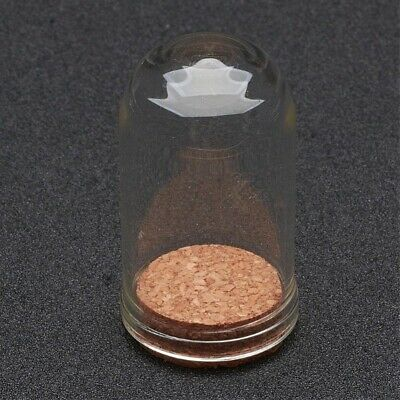 2 Glass 71.5x28mm Vial Domed Display Bottles with Cork. (A1B)