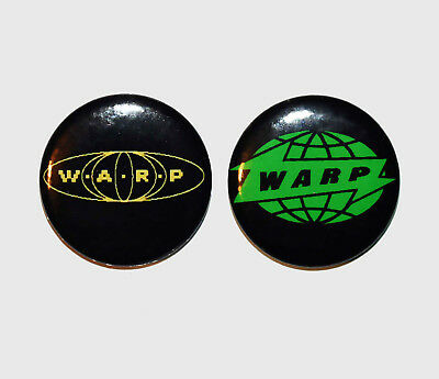 2 x 25mm WARP RECORDS UK (IDM - TECHNO - ELECTRONICA) Button Badges - NEW!